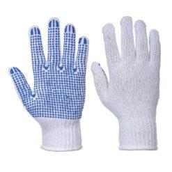 Rękawice nakrapiane PVC Portwest A111 Fortis Polka poliestrowe bawełniane mocne nakropione rękawiczki robocze niebiesko białe obie strony