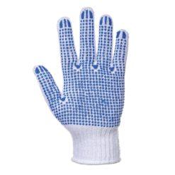 Rękawice nakrapiane PVC Portwest A111 Fortis Polka poliestrowe bawełniane mocne nakropione rękawiczki robocze niebiesko białe strona chwytna