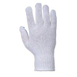 Rękawice nakrapiane PVC Portwest A111 Fortis Polka poliestrowe bawełniane mocne nakropione rękawiczki robocze niebiesko białe strona wierzchnia