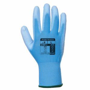 Rękawice robocze Portwest A120 Niebieskie Powlekane PU rękawiczki ochronne robocze do pracy bhp powlekane poliuretanem nylonowe mocne wytrzymałe do pracy strona wierzchnia