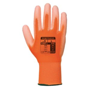 Rękawice robocze Portwest A120 Pomarańczowe Powlekane PU rękawiczki ochronne robocze do pracy bhp powlekane poliuretanem nylonowe mocne wytrzymałe do pracy strona wierzchnia