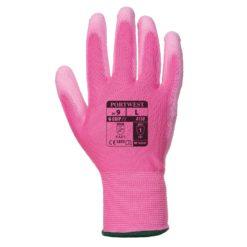 Rękawice robocze Portwest A120 Różowe Powlekane PU rękawiczki ochronne robocze do pracy bhp powlekane poliuretanem nylonowe mocne wytrzymałe do pracy strona wierzchnia
