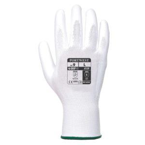 Rękawice robocze Portwest A120 Białe Powlekane PU rękawiczki ochronne robocze do pracy bhp powlekane poliuretanem nylonowe mocne wytrzymałe do pracy strona wierzchnia