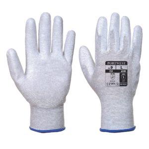 Rękawice antystatyczne Portwest A199 rękawiczki esd precyzyjne wyładowania statyczne szaro białe przepięciowe antyelektrostatyczne