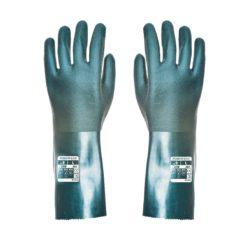 Rękawice Chemoodporne Portwest A835 Podwójne PVC 35 cm chemiczne antychemiczne rękawiczki długie ług sodowy zielone