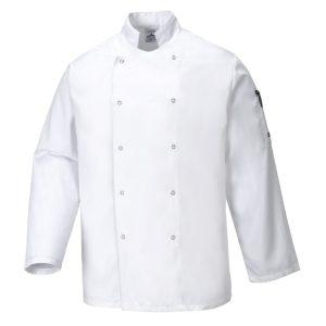 Bluza szefa kuchni Portwest Suffolk C833 Biała Kingsmill bluza szefa kuchni bluza dla kucharza bluza kucharska biała gastronomia odzież gastronomiczna