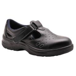 Bezpieczne sandały robocze PORTWEST Steelite S1 FW01 perforowane ochronne obuwie bezpieczne na rzep sandałki do pracy wentylowane czarne