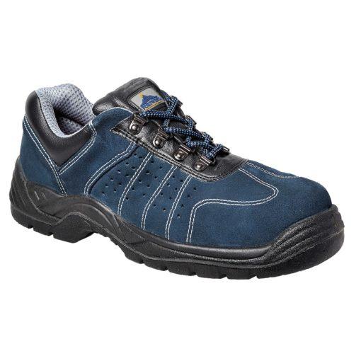 Perforowane półbuty robocze PORTWEST Trainer Steelite S1P niebieskie perforowane przewiewne ochronne obuwie robocze do pracy z blachą antyprzebiciowe