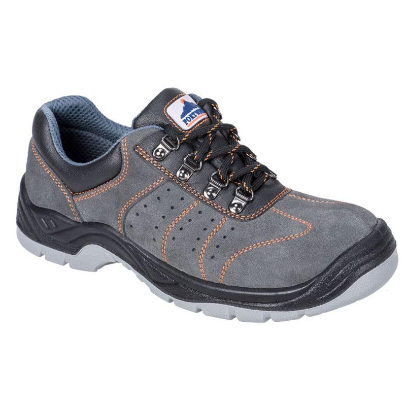 Perforowane półbuty robocze PORTWEST Trainer Steelite S1P niebieskie perforowane przewiewne ochronne obuwie robocze do pracy z blachą antyprzebiciowe obuwie bezpieczne ochronne bhp sklep bhp szare