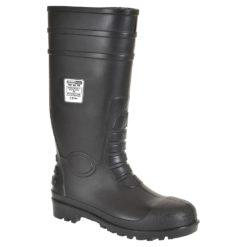 Kalosze robocze Portwest Wellington S5 Total Safety FW95 czarne obuwie ochronne s5 z blachą stalowy podnosek wkładka antyprzebiciowa całotworzywowe pvc/nitryl gumowce