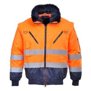 Kurtka Ostrzegawcza Pilot Portwest PJ50 Ocieplana pilotka robocza ochronna do pracy bhp ciepła ocieplana na jesień zimę do roboty z kieszeniami futro odblaskowa pomarańczowa z przodu