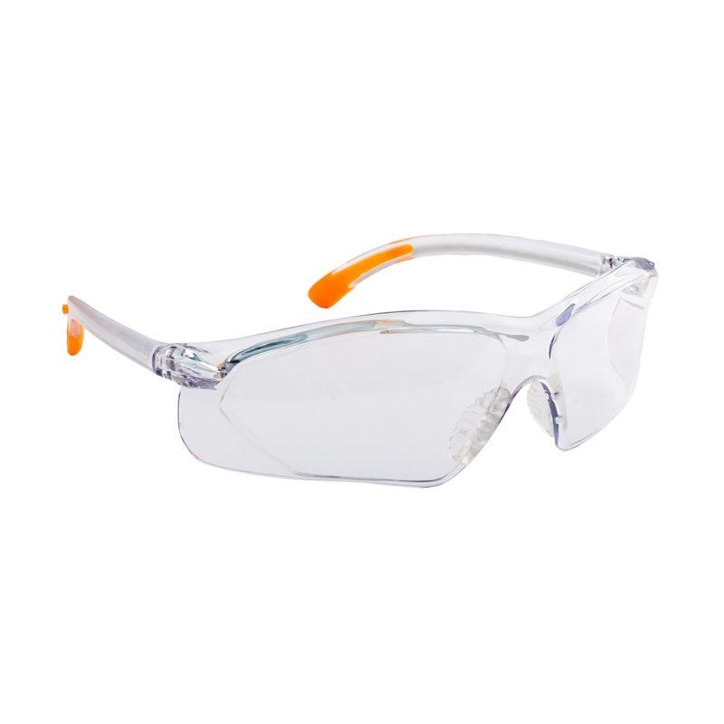 Okulary ochronne Portwest Fossa PW15 EN160 1F okulary bhp do pracy przeciw odpryskowe mocne poliwęglan przezroczyste