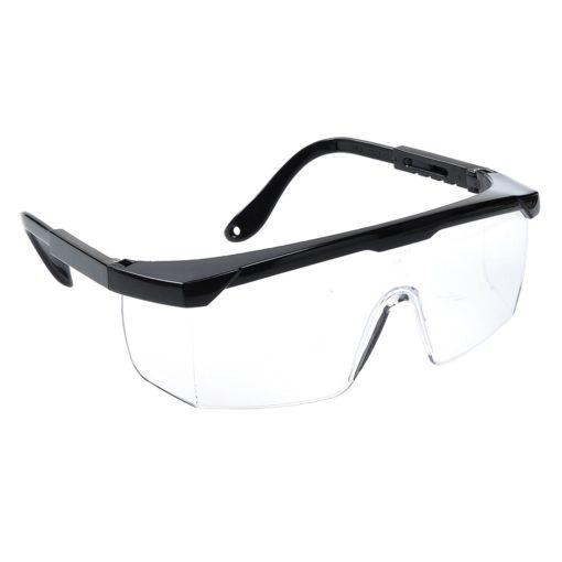 Klasyczne okulary ochronne Portwest PW33 okulary bhp gogle filtr uv bezpieczne przeciwodpryskowe do pracy przezroczyste czarne