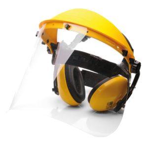Zestaw ochrony indywidualnej Portwest PW90 nauszniki ochronniki słuchu osłona twarzy plastikowa bhp do pracy do koszenia trawy żółta bez hełmu nagłowie przeciwodpryskowe