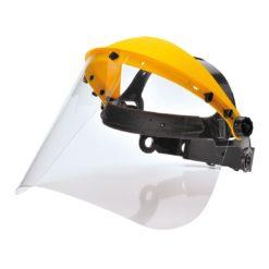 Osłona Twarzy z Szybą Plexi Portwest PW91 osłona plexi nagłowie ochronne bhp z szybą przeciodpryskowe z wymienną wizjerką żółte przezroczysta osłonka do pracy przyłbica