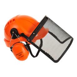 Zestaw ochronny dla pilarzy Portwest PW98 nauszniki hełm ochronny kask osłona siatkowa ochronniki słuchu pomarańczowe do pracy bhp pilarz leśnik przemysł drzewny zdjęcie z boku