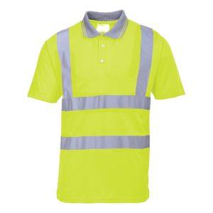 Koszulka Polo Ostrzegawcza PORTWEST S477 Żółta robocza drogowa koszulka polo oddychająca hv