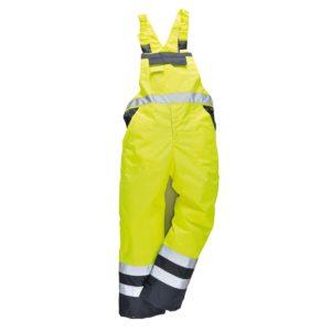 Spodnie Ogrodniczki Ostrzegawcze Portwest S489 żółte Ocieplane 2 kolory do pracy bhp odzież robocza ocieplana zimowa jesienna szwedy odblaskowe na szelkach żółte przód