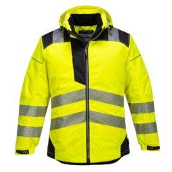 kurtka przeciwdeszczowa portwest t400 Vision Rain kurtka robocza odblaskowa z taśmą odlaskową ostrzegawczą ocieplana ciepła jesienna zimowa z kapturem żółta czarna
