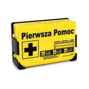 Apteczka SwingMed Apa04 z wieszakiem DIN 13164+ustnik DIN 13157 apteczka pierwszej pomocy biurowa przemysłowa na ścianę mała żółta
