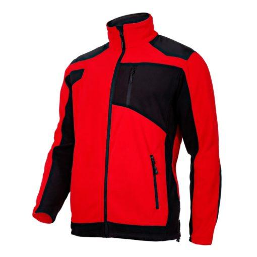 Bluza polarowa ze wzmocnieniami Lahti PRO L40115 Czerwona bluza polarowa ciepła polar ochronny roboczy mocny czarno czerwony na suwak bok