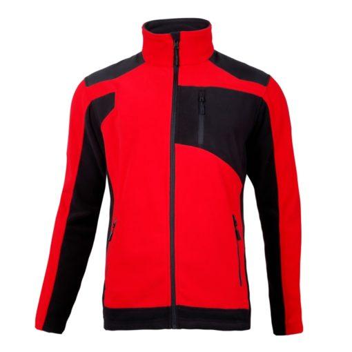 Bluza polarowa ze wzmocnieniami Lahti PRO L40115 Czerwona bluza polarowa ciepła polar ochronny roboczy mocny czarno czerwony na suwak przód