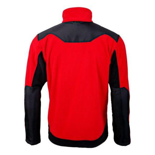 Bluza polarowa ze wzmocnieniami Lahti PRO L40115 Czerwona bluza polarowa ciepła polar ochronny roboczy mocny czarno czerwony na suwak tył