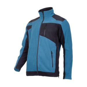 Bluza polarowa ze wzmocnieniami Lahti PRO L40114 Niebieska wzmacniana poliester czarna przód bok
