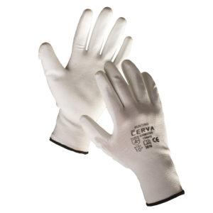 Rękawice robocze Bunting Cerva Manualne Powlekane PU biało szare dobra chwytność czarny mankiet