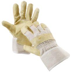 Rękawice robocze Jay Cerva wzmacniane skóra świńska licowa wytrzymałe na uszkodzenia mechacznine żółto szare