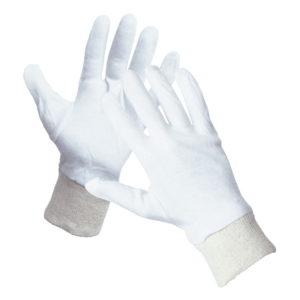 Rękawice bawełniane Cormoran Cerva rozm. 7-11 ochronne rękawiczki tekstylne do żywności białe ze ściągaczem