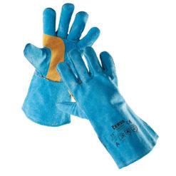 ochronne rękawice spawalnicze harpy cerva niebiesko piaskowe khaki typ 2 dla spawacza 35 cm długości