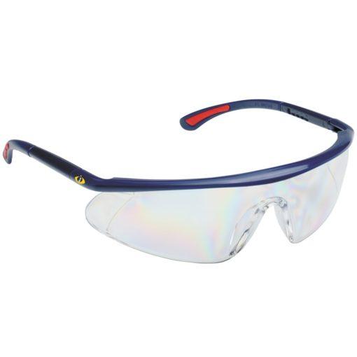 Okulary Ochronne iSpector Barden F1 bezbarwne ramka granatowa z czerwonymi akcentami