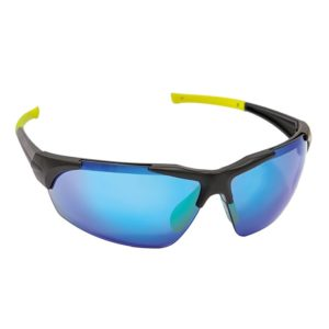 Okulary Ochronne Lustrzanki iSpector Halton F1 Niebieskie okulary ochronne robocze ramka czarna z żółtymi ramionami regulowanymi
