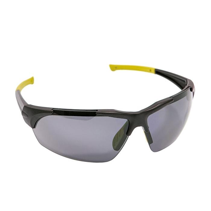 Okulary Ochronne Przyciemniane iSpector Halton f1 przyciemniane szkła z poliwęglanu czarno żółta ramka i ramiona
