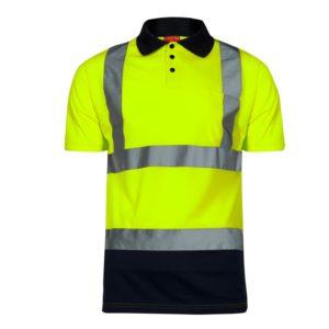 Koszulka polo ostrzegawcza żółta Lahti PRO L40302 drogowa odblaskowa koszulka podkoszulek z kołnierzem drogowa z pasem odblaskowym żółto granatowa z przodu