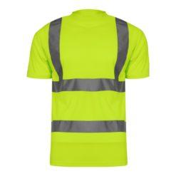 Koszulka T-shirt Ostrzegawcza Żółta Lahti PRO L40208 podkoszulek koszulka odblaskowa żółta drogowa z pasami odblaskowymi drogowa mocna t-shirt kontrastowy przód