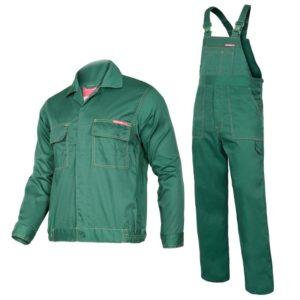 komplet roboczy Lahti PRO Quest LPQA zielony ciuchy robocze ubranie bhp do pracy odzież robocza ochronna ogrodniczki szwedy bluza mocna na szelki lahti