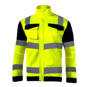 Kurtka Ostrzegawcza Żółta Lahti PRO L40912 Premium wysokiej widoczności kurtka drogowa z pasami odblaskowymi dla drogowców czarno żółta ostrzegawcza z kieszeniami z przodu