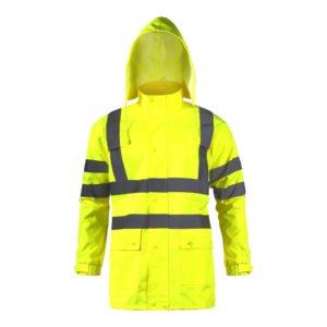 Kurtka Ostrzegawcza Żółta Przeciwdeszczowa Lahti PRO L40913 przeciwdeszczowa wodoodporna na deszcz robocza drogowa płaszcz z pasami odblaskowymi z kapturem żóły z przodu