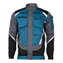Bluza Lahti PRO L40403 z Pasami Odblaskowymi bluza robocza do pracy turkusowa szara czarna z odblaskami przód