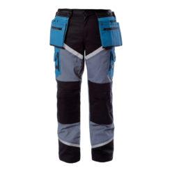 Spodnie Lahti PRO L40502 Monterskie spodnie w pas do pasa mocne robocze ochronne do pracy z odblaskami turkusowe z czanym kieszenie na nakolanniki
