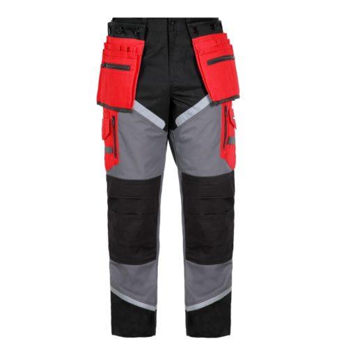 Spodnie Lahti PRO L40505 Monterskie w pas do pasa do pracy bhp na montaż spodnie robocze ochronne z pasami odblaskowymi przód