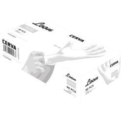 Rękawice jednorazowe Loon Light Cerva Lateksowe EN 374-1,2 ATEST białe laboratoryjne pudełko