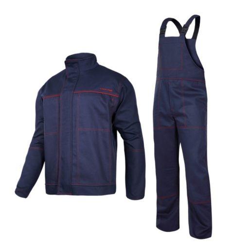 ubranie spawalnicze Lahti PRO L41405 dla spawacza do spawania trudnopalne ubranie ochronne ciuchy robocze niepalne dla wysokiej temperatury odzież bhp szwedy ogrodniczki na szelki bluza robocza granatowa