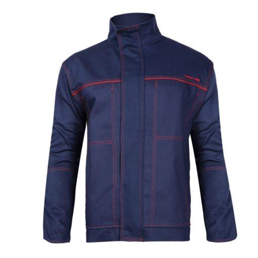 ubranie spawalnicze Lahti PRO L41405 dla spawacza do spawania trudnopalne ubranie ochronne ciuchy robocze niepalne dla wysokiej temperatury odzież bhp szwedy ogrodniczki na szelki bluza robocza granatowa przód