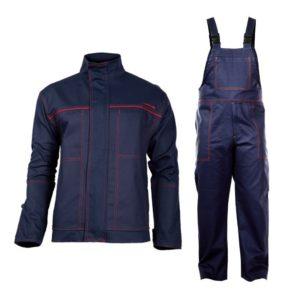 ubranie spawalnicze Lahti PRO L41405 dla spawacza do spawania trudnopalne ubranie ochronne ciuchy robocze niepalne dla wysokiej temperatury odzież bhp szwedy ogrodniczki na szelki bluza robocza granatowa zestaw z przodu