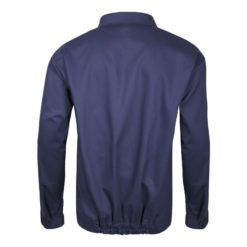 ubranie spawalnicze Lahti PRO L41405 dla spawacza do spawania trudnopalne ubranie ochronne ciuchy robocze niepalne dla wysokiej temperatury odzież bhp szwedy ogrodniczki na szelki bluza robocza granatowa tył