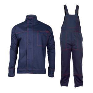 ubranie spawalnicze ze wzmocnionymi mankietami Lahti PRO L41406 dla spawacza do spawania trudnopalne ubranie ochronne ciuchy robocze niepalne dla wysokiej temperatury odzież bhp szwedy ogrodniczki na szelki bluza robocza granatowa zestaw prosto