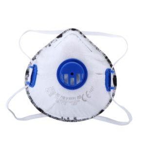 Maska przeciwpyłowa FFP1 Lahti PRO L120090s, z zaworkiem, warstwa węgla aktywnego, niebieski, Lahti PRO, biała, ochrona dróg oddechowych